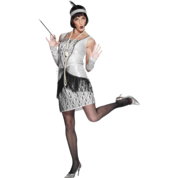 Flapper Sexy Silver Womens Costumes