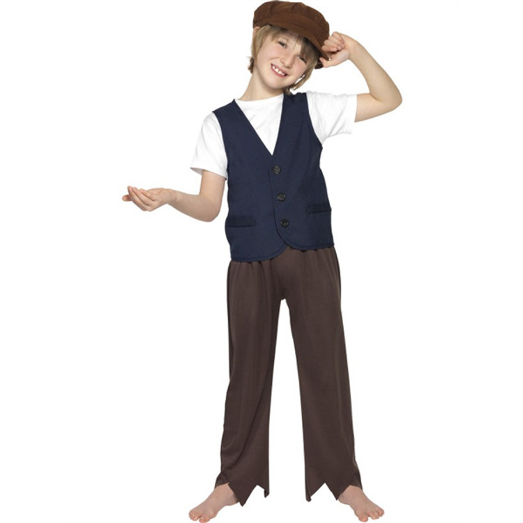 Colonial Victorian Poor Boy Costume Waistcoat & Cap