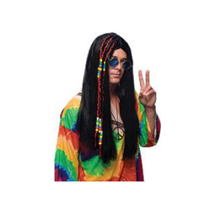 1960s Hippie Long Black Wig