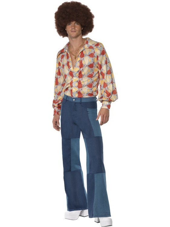 1970s Patchwork Flares Mens Costume