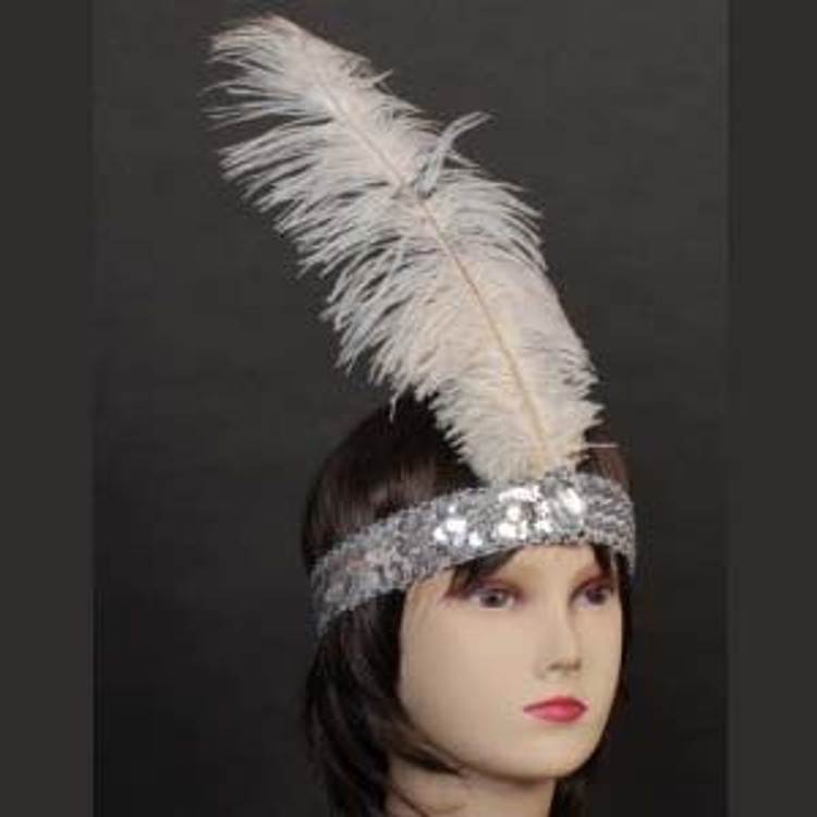 1920s Sequin Headband - White