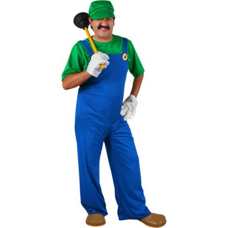 Super L Plumber Adult Mens Costumes - Luigi
