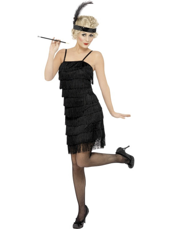Black Fringe Flapper Womens Dress
