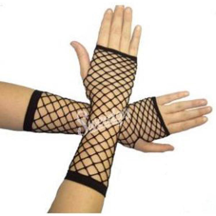 Fishnet Fingerless Gloves Long - Black - Punk