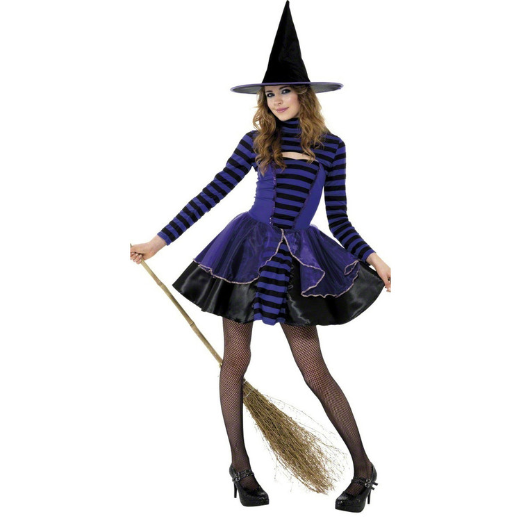 Witch Striped Dark Fairy Teen Girl Costume