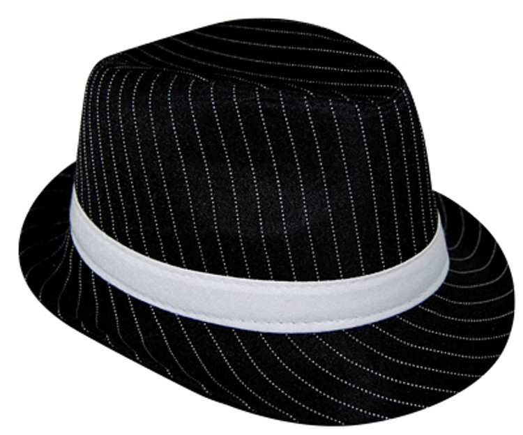 Pinstripe Gangster Black Hat