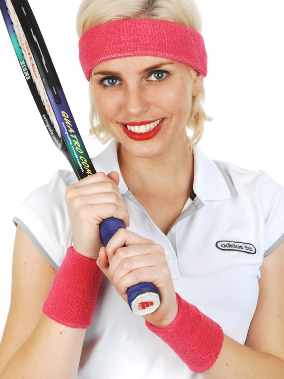80's Sweatband Set Hot Pink