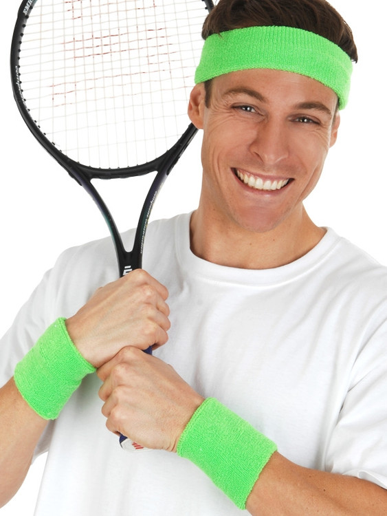80's Sweatband Set Neon Green