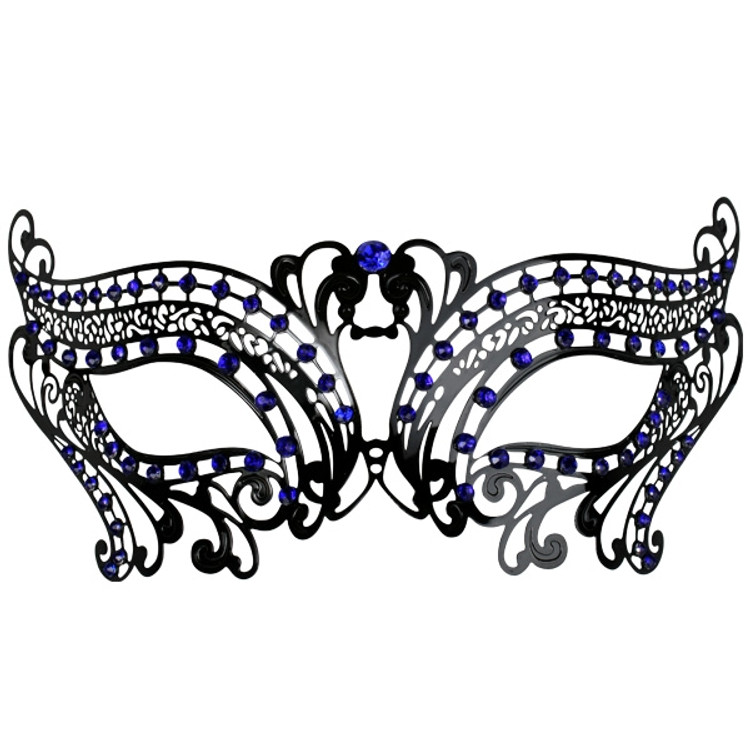 Toulouse Metal Eye Mask with Blue Jewels
