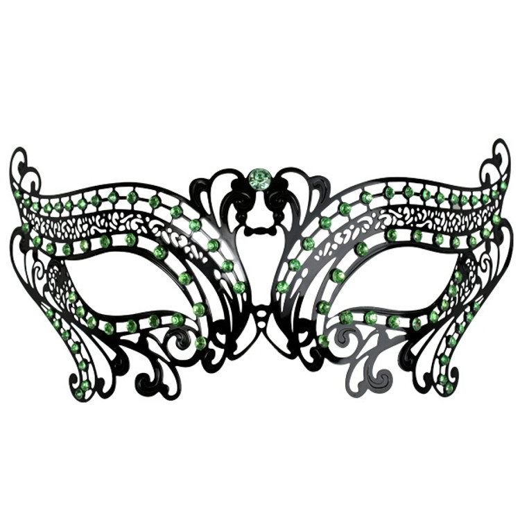 Toulouse Metal Eye Mask with Green Jewels