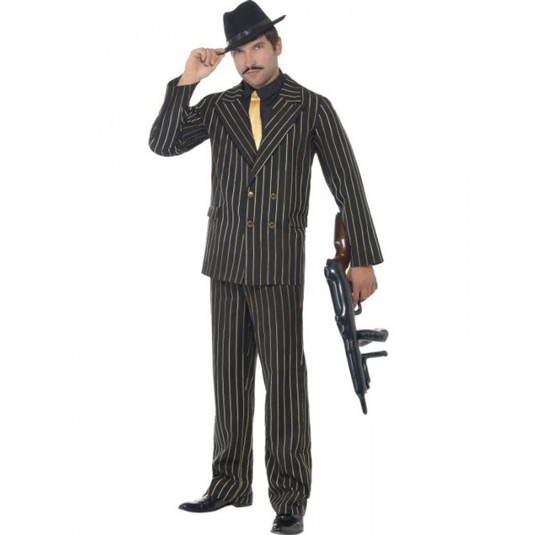 1920s Mens Costume - Gangster Gold Pinstripe Suit