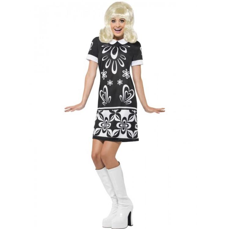 1960's 70s Monochrome Missy Womens Costume