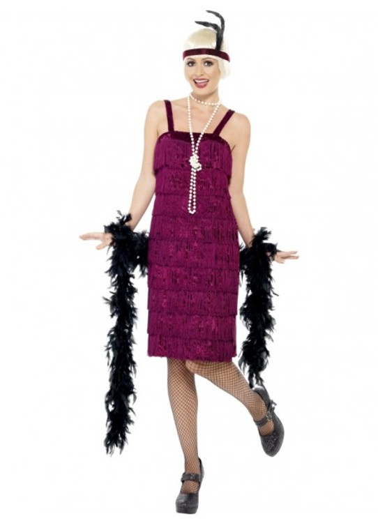 Flapper Jazz Burgundy Womens Costume