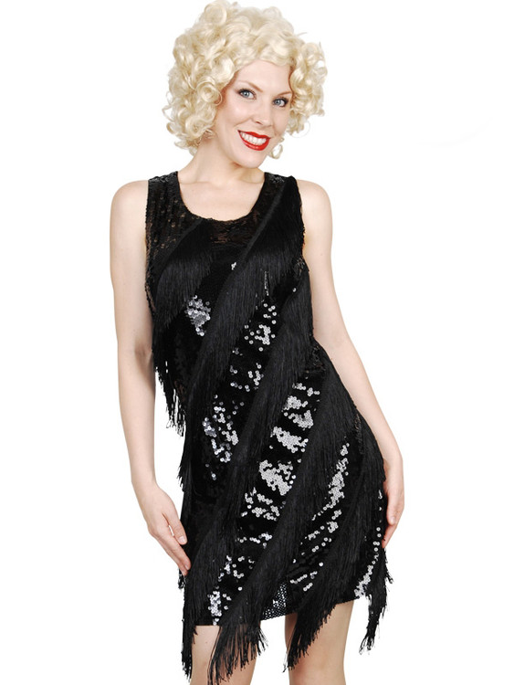 Flapper 1920s Sequin Diagonal Dress Black