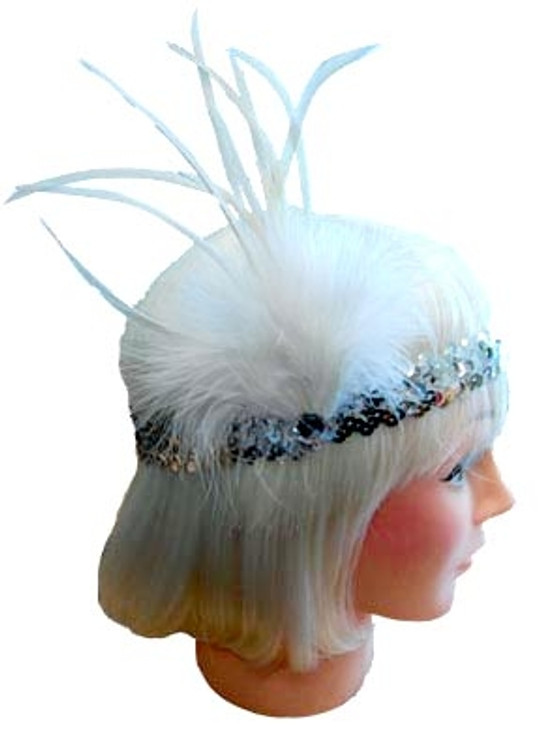 1920s Sequin Headband - White/Silver
