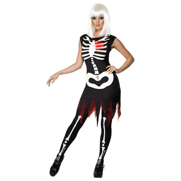 Skeleton Bright Bones Glow in the Dark Womens Costume