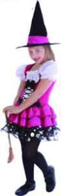 Witch Sassy Pink Girls Costume