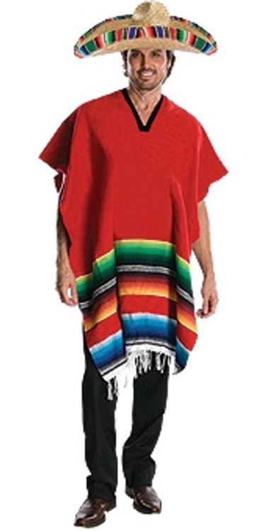 Mexican Poncho & Sombrero Adult Costume