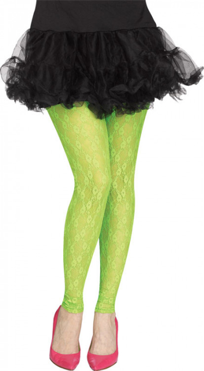 80s Womens Footless Neon Green Lace Leggings