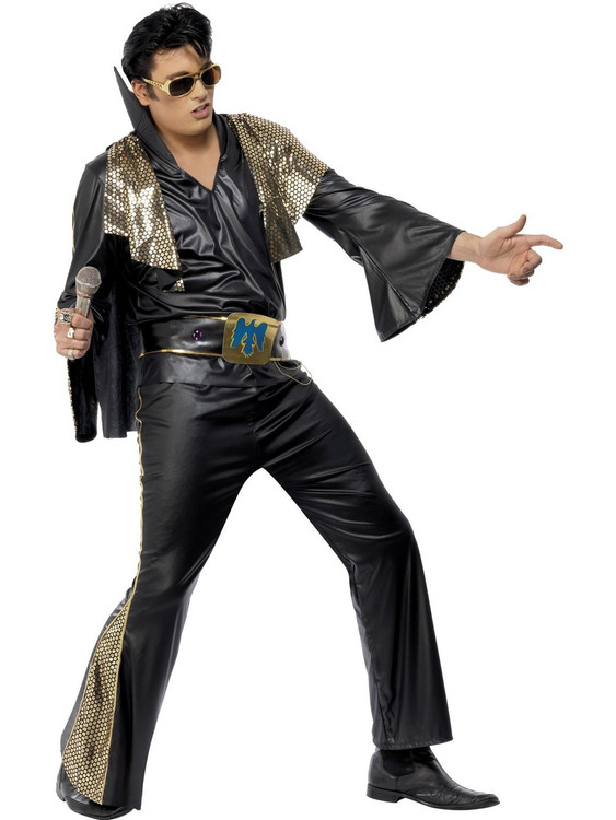 Elvis Black & Gold Mens Costume