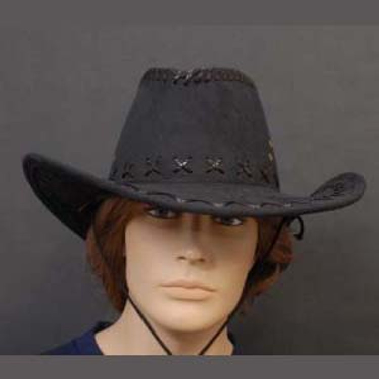 Cowboy Hat - Black Leather Style