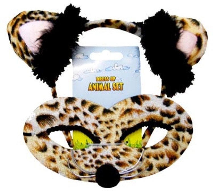 Leopard Animal Headband & Mask Set