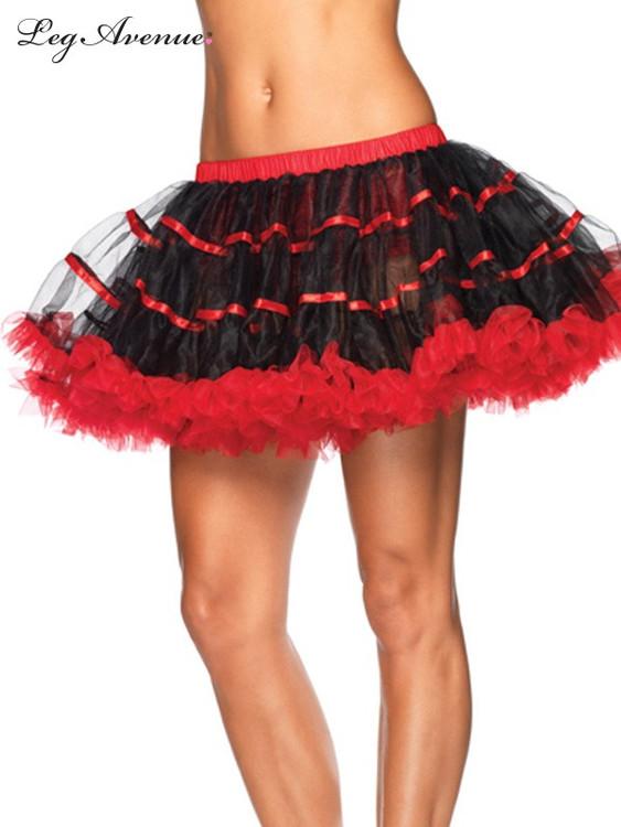Petticoat Satin Striped Tulle Petticoat - Black/Red
