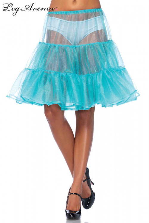 Petticoat Knee Length Shimmer Skirt Blue