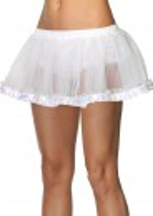 Petticoat Pleated Satin Trim White
