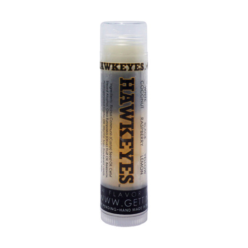 In Our Iowa Hawkeyes single tube... The first flavor you will enjoy is the Coconut for the whole white section, once the white is all gone you will go to the black which is Raspberry and then onto yellow and enjoy Lemon (which is just like Lemon Pound Cake)!    All of the lip balms no matter what color in the tube... apply clear to the lips!  These lip balms are moisturizing and are amazing!     We know you are an Iowa Hawkeyes Fan... don't forget to pick up some for your friends to enjoy also!!  Single ~ White: Coconut, Black: Raspberry, and Yellow: Lemon