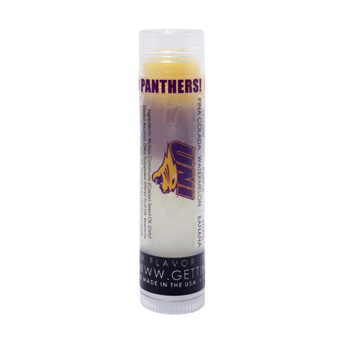 In Our UNI lip balm... The first flavor you will enjoy is the Pina Colada for the whole yellow section, once the yellow is all gone you will go to the purple which is Watermelon and then onto white and enjoy Banana!    All of the lip balms no matter what color in the tube... apply clear to the lips!  These lip balms are moisturizing and are amazing!     We know you are a UNI Panther Fan... don't forget to pick up some for your friends to enjoy also!!    Single ~ Yellow: Pina Colada, Purple: Watermelon, and White: Banana