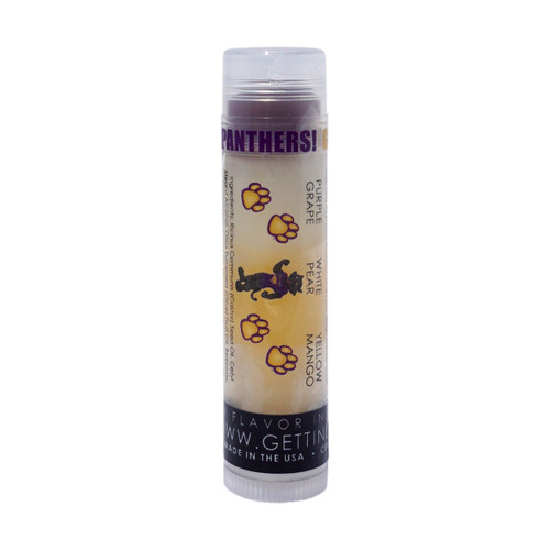 In Our UNI with TC and Paws lip balm... The first flavor you will enjoy is the Grape for the whole purple section, once the purple is all gone you will go to the white which is Pear and then onto yellow and enjoy Mango!    All of the lip balms no matter what color in the tube... apply clear to the lips!  These lip balms are moisturizing and are amazing!      We know you are a UNI Panther Fan... don't forget to pick up some for your friends to enjoy also!!    Single ~ Purple: Grape, White: Pear, and Yellow: Mango