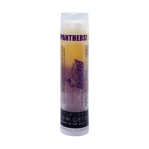 In Our UNI Panthers lip balm... The first flavor you will enjoy is the Cherry for the whole white section, once the white is all gone you will go to the yellow which is lemon and then onto purple and enjoy Raspberry!    All of the lip balms no matter what color in the tube... apply clear to the lips!  These lip balms are moisturizing and are amazing!    We know you are a UNI Panther Fan... don't forget to pick up some for your friends to enjoy also!!  Single ~ White: Cherry, Yellow: Lemon, and Purple: Raspberry