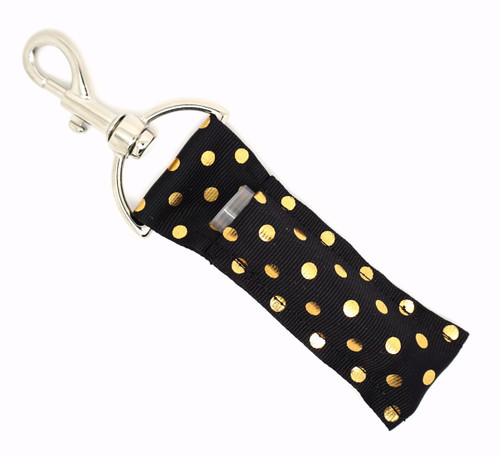 Black with Medium Gold Foil Dots    This lip balms holder is very durable with a stainless steel hook that is easily attached and unattached to a purse, keys, backpack, or lanyard.