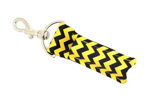 Black and Yellow with Glitter Chevron    This lip balms holder is very durable with a stainless steel hook that is easily attached and unattached to a purse, keys, backpack, or lanyard.