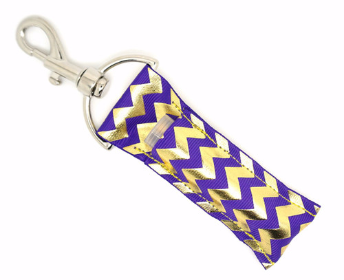 Purple and Gold Foil Chevron   This lip balms holder is very durable with a stainless steel hook that is easily attached and unattached to a purse, keys, backpack, or lanyard.