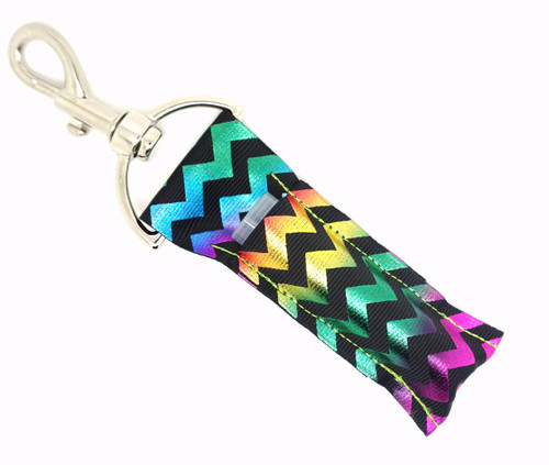 Multicolored Foil Chevron   This lip balms holder is very durable with a stainless steel hook that is easily attached and unattached to a purse, keys, backpack, or lanyard.