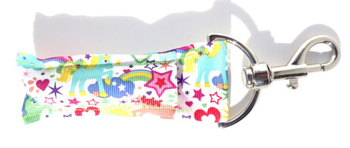 Unicorn, Stars and Hearts Lip balm Holder HL  This lip balms holder is very durable with a stainless steel hook that is easily attached and unattached to a purse, keys, backpack, or lanyard. This lip balm holder has Unicorns, hearts and stars.  MADE IN THE USA!!