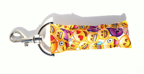 Emoji Lip balm Holder  This lip balms holder is very durable with a stainless steel hook that is easily attached and unattached to a purse, keys, backpack, or lanyard. This lip balm holder has multiple Emoji's faces .   MADE IN THE USA!!