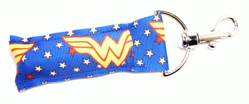 Wonder Woman Lip Balm Holder   This lip balms holder is very durable with a stainless steel hook that is easily attached and unattached to a purse, keys, backpack, or lanyard. This lip balm holder has multiple Superhero logo's .  Superhero logo's on this holder:  Wonder Woman  MADE IN THE USA!!