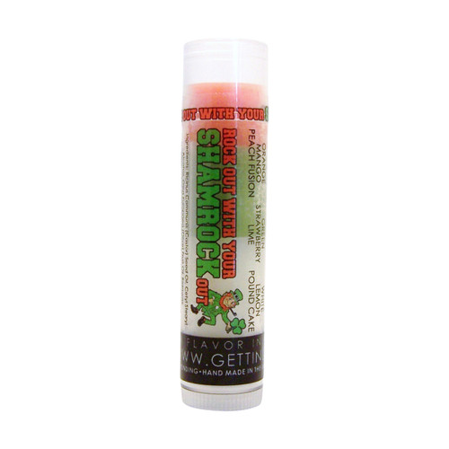Rock out with your Shamrock out!  You're going to go wild over this moisturizing and multi flavored lip balm! Themed for St Patrick's Day each tube offers 3 flavors... they are just waiting for you to try them all! The colors in the tubes are beautiful BUT they are only to show you what flavor you are on, or going to next!  For example: The first flavor you will enjoy is Mango Peach Fusion for the whole orange section, once the orange is all gone you will go to green which is Strawberry Lime, then onto white and enjoy Lemon Pound Cake!  All of the lip balms no matter what color in the tube... apply clear to the lips!  By ordering 3, 6 or 12 of these lip balms it will save you $$$$! So don't forget to get some for your friends!!  Lucky Charm ~       Orange: Mango Peach Fusion, Green: Strawberry Lime, White: Lemon Pound Cake  *** These are shown in the picture from left to right  All Gettin Lippy flavored lip balms:  The first ever multi-flavored lip balm... never get tired of just one flavor! Unlike other lip balms, Gettin Lippy lip balms are made to deliver the best moisturizing lip balm Moisturizing, and make your lips feel like silk! Long lasting, you might want to reapply for the wonderful aroma to enjoy, but the lip balm last a long time! No sticky feeling on your lips! Best lip balm!!! Applies Clear to Lips! Great gift idea for holidays, special occasions, or to share with friends! MADE IN THE USA!!