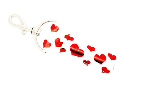 Hearts Lip balm Holder white with red foil hearts     This lip balms holder is very durable with a stainless steel hook that is easily attached and unattached to a purse, keys, backpack, or lanyard. This lip balm holder has a white background with red foil hearts.  MADE IN THE USA!!