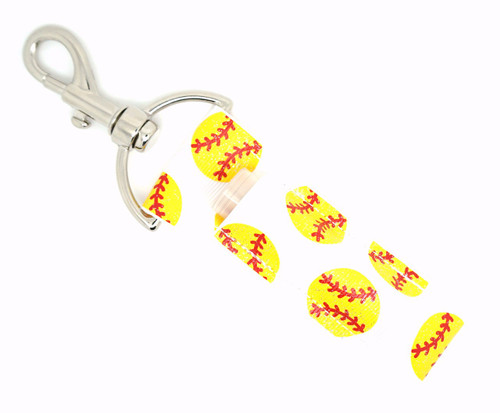 Lip Balm Holder White with Yellow Glitter Softballs   Each Lip Balm / Chapstick Holder is HANDMADE with a high-quality material! Our unique design's and clasp offer both style and functionality. The hook is also on a swivel head so the lip balm always falls back down and never gets stuck upside down, this is where most lip balm holders lose your lip balm or chapstick! The holder is designed to snuggly fit nice and cozy any standard chapstick or lip balm. This ensures that the lip balm / chapstick won't fall out when needed most.  BENEFITS: Misplacing or Losing your chapstick is the worst!! Don't let that happen again and buy the perfect solution! Our Lip Balm / Chapstick Holder Keychain will make sure you always have your Gettin Lippy lip balm at hand when desperately needed. Our cute fun designs will compliment anything. Attach it to your keys, lanyard, back-pack, bag, purse, or anywhere your little heart desires with our easy open clasp!    PERFECT GIFTS: A simple gift can go a long way. Everyone needs something cute and functional. Buy now for stocking stuffers, birthday party, a team gift or for a daughter, friend, wife, girlfriend, colleague, student, teacher, etc!  BUY WITH CONFIDENCE: Read the reviews! Our Gettin Lippy Lip balm holders are the number one rated lip balm holders on the market! If you don't LOVE our products, we offer 100% Money Back GUARANTEE no questions asked.  PACKAGE INCLUDES:  1 Unique Lip Balm / Chapstick holder. Each Holder is 6.5 inches (with hook) x 1.5 inches. **NOTE: Gettin Lippy lip balms in pictures are not included but click on the link below and get the best multi-flavored lip balm on the market:   https://gettinlippy.com/gettin-lippyoriginal-line/     MADE IN THE USA!!