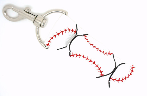 White with Large Baseballs lip balm holder   This lip balms holder is very durable with a stainless steel hook that is easily attached and unattached to a purse, keys, backpack, or lanyard. This lip balm holder is white with large baseballs!  MADE IN THE USA!!