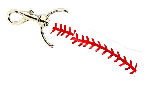 Lip Balm Holder Baseball white with Red Foil Laces    Each Lip Balm / Chapstick Holder is HANDMADE with a high-quality material! Our unique design's and clasp offer both style and functionality. The hook is also on a swivel head so the lip balm always falls back down and never gets stuck upside down, this is where most lip balm holders lose your lip balm or chapstick! The holder is designed to snuggly fit nice and cozy any standard chapstick or lip balm. This ensures that the lip balm / chapstick won't fall out when needed most.  BENEFITS: Misplacing or Losing your chapstick is the worst!! Don't let that happen again and buy the perfect solution! Our Lip Balm / Chapstick Holder Keychain will make sure you always have your Gettin Lippy lip balm at hand when desperately needed. Our cute fun designs will compliment anything. Attach it to your keys, lanyard, back-pack, bag, purse, or anywhere your little heart desires with our easy open clasp!  PERFECT GIFTS: A simple gift can go a long way. Everyone needs something cute and functional. Buy now for stocking stuffers, birthday party, a team gift or for a daughter, friend, wife, girlfriend, colleague, student, teacher, etc!  BUY WITH CONFIDENCE: Read the reviews! Our Gettin Lippy Lip balm holders are the number one rated lip balm holders on the market! If you don't LOVE our product, we offer 100% Money Back GUARANTEE no questions asked.  PACKAGE INCLUDES:  1 Unique Lip Balm / Chapstick holder. Each Holder is 6.5 inches (with hook) x 1.5 inches. **NOTE: Gettin Lippy lip balms in pictures are not included but click on the link below and get the best multi-flavored lip balm on the market:   https://gettinlippy.com/gettin-lippyoriginal-line/    HANDMADE IN THE USA!!