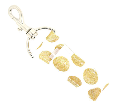 White with Large Gold Glitter Dots lip balm holder    This lip balms holder is very durable with a stainless steel hook that is easily attached and unattached to a purse, keys, backpack, or lanyard. This lip balm holder is white and has large gold glitter dots.  MADE IN THE USA!!