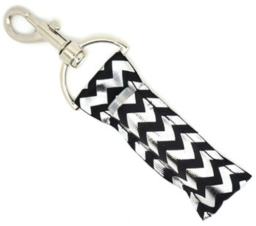 Black and Silver Foil Chevron   This lip balms holder is very durable with a stainless steel hook that is easily attached and unattached to a purse, keys, backpack, or lanyard.