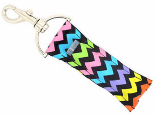 Black with Bright Multicolored Chevron Lip Balm Holder  Each Lip Balm / Chapstick Holder is HANDMADE with a high-quality material! Our unique design's and clasp offer both style and functionality. The hook is also on a swivel head so the lip balm always falls back down and never gets stuck upside down, this is where most lip balm holders loose your lip balm or chapstick! The holder is designed to snuggly fit nice and cozy any standard chapstick or lip balm. This ensures that the lip balm / chapstick won't fall out when needed most.
