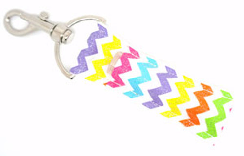 White with Bright Multicolored with Glitter Chevron Lip Balm Holder  Each Lip Balm / Chapstick Holder is HANDMADE with a high-quality material! Our unique design's and clasp offer both style and functionality. The hook is also on a swivel head so the lip balm always falls back down and never gets stuck upside down, this is where most lip balm holders loose your lip balm or chapstick! The holder is designed to snuggly fit nice and cozy any standard chapstick or lip balm. This ensures that the lip balm / chapstick won't fall out when needed most.