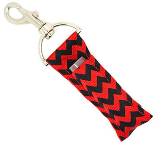 Black and Red Chevron lip balm holder   This lip balms holder is very durable with a stainless steel hook that is easily attached and unattached to a purse, keys, backpack, or lanyard.